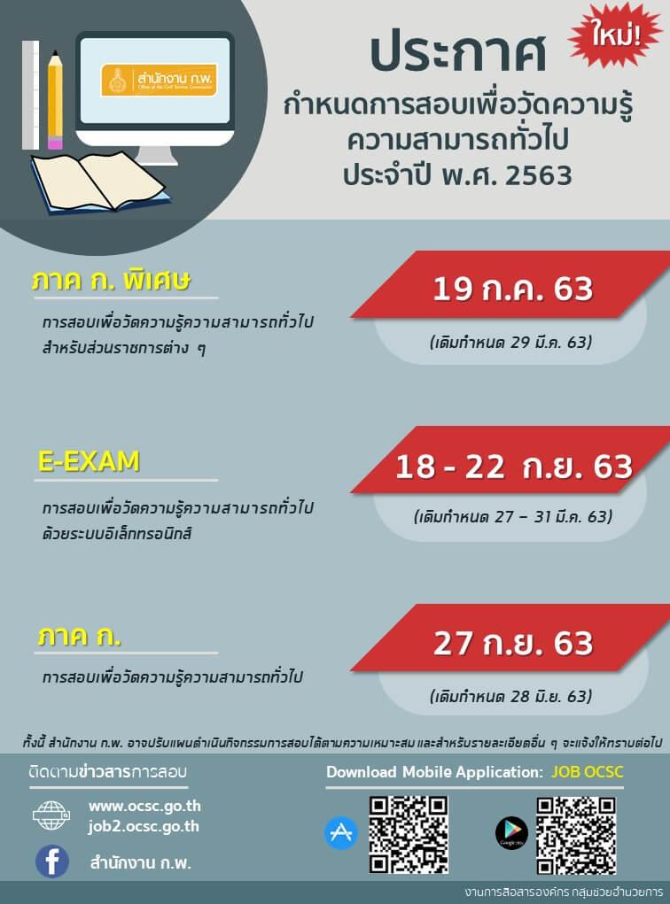 สำนักงาน ก.พ. ประกาศกำหนดสอบ ภาค ก. ประจำปี 2563 (ใหม่ล่าสุด)